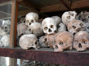 Skulls of those killed by The Khmer Rouge